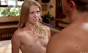 Sensual blonde neonate gets nicely fucked seascape