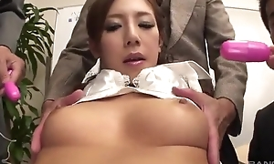 Lubricious Japanese nipper receives fucked unending in the office