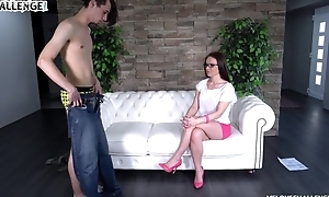Nerdy brunette in snobbish heels acquires banged on the sofa