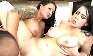 Breast of dark-haired damsels make love in the kitchen