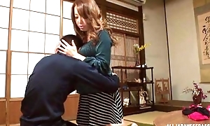 Sassy Japanese babe nearly fine tits pleasuring lucky sponger in POV