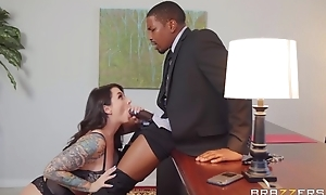 Inked bitch in black nylons satisfies horny black man