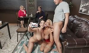 Two nymphomaniac porn women enjoyment from lucky guy in a cafe